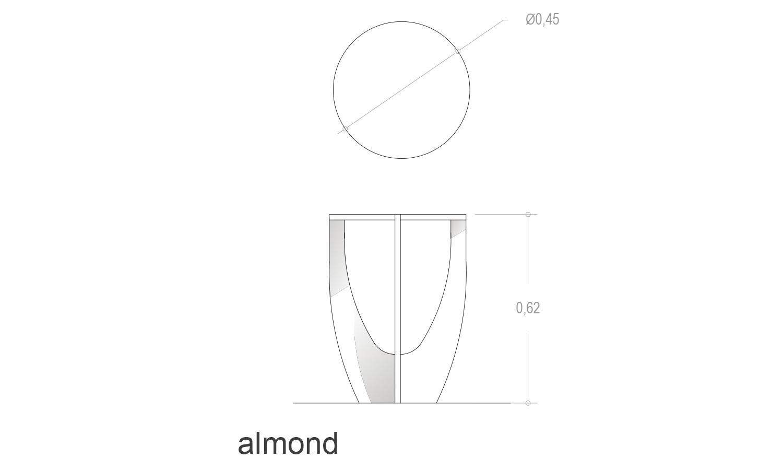 Detalle medidas mesa redonda almond