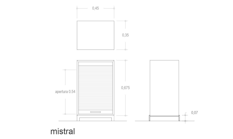 Detalles técnicos mueble contenedor Mistral